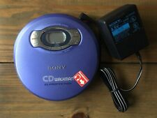 Sony CD Walkman D-EJ611 Purple Portable CD Player G Protection W/ Charger Tested