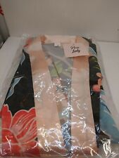 PIXIE LADY. Long Women Floral Satin Robe. Pink & Black .ONE PLUS SIZE