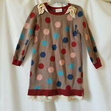 Hanna Andersson Girls Size 110 US 5 Gray Pink Blue Red Polka Dot Sweater Dress