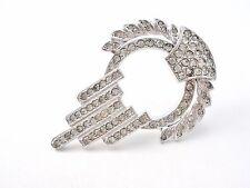 Rhodium Plated Sterling Silver Rhinestone Pendant Brooch Vintage Jewelry Pin