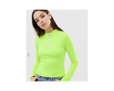 ASOS DESIGN high neck top with zip in neon green Size US 10 NWT