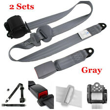 2x Safety 3 Point Universal Car Seat Accessories Lap Belt Adjustable Kit Gray
