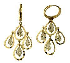 14K Real Yellow Gold Fancy Dangle Diamond Cut Tear Drop Hanging Huggie Earrings