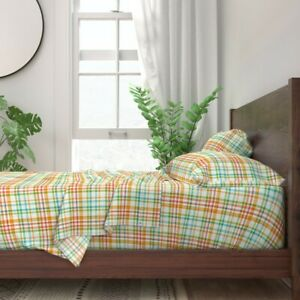 Multicolored Plaid Orange Aqua Yellow 100% Cotton Sateen Sheet Set by Roostery