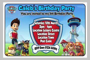 PERSONALISED PAW PATROL BIRTHDAY PARTY INVITE / INVITES / INVITATION CARDS