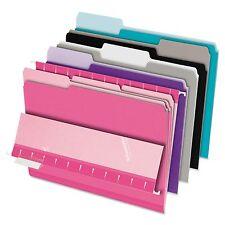 Pendaflex 421013ASST2 Interior File Folders  1/3 Cut Top Tab  Letter  Pastel