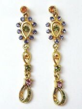 "Pretty Rhinestone Drop Dangle Earrings 2-1/4"" Delicate Multi Color Sparkles"
