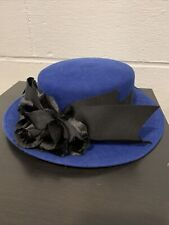 Michael Howard 100% Wool Hat Black Tie Great Condition Women's Ribbon Tie Usa