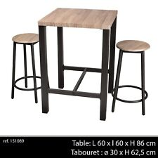 TABLE BAR APPOINT + 2 CHAISE TABOURET INDUSTRIEL BOIS ET METAL DESSERTE LOFT 896