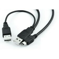 1M Long Extra Power USB Y Cable - Male Mini USB to 2 Male A USB