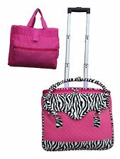 """16"""" rolling laptop computer bag wheel storage briefcase roll carry on"""