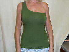 One Shoulder Olive Green Cotton/Lycra  Top 12/14