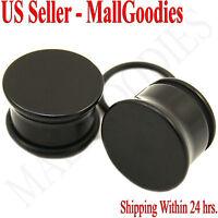 "0938 Black Acrylic Single Flare Ear Plugs 9/16"" Inch 14mm MallGoodies One 1 Pair"