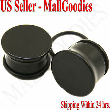 "0938 Black Acrylic Single Flare Ear Plugs 9/16"" Inch 14mm MallGoodies One 1 Pair"