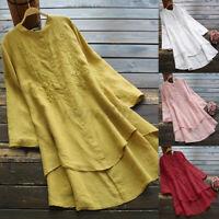 Mode Femme Chemise Manche Longue Asymétrique Brodées Boutons Haut Shirt Plus