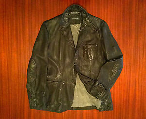 As New Designer Luxury Leather Jacket Made In Italy Blazer Men's Black M L