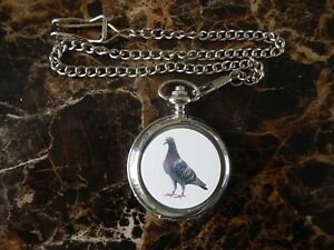 PIGEON CHROME POCKET WATCH WITH CHAIN (NEW)