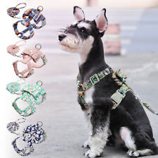 Floral Dog Vest Harness for Small Medium Dogs Adjustable Pet Bowknot Harness S/M