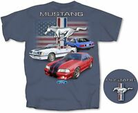 Ford Mustang Fox Body American Flag Back Graphic Indigo Men's T-shirt Size 2XL