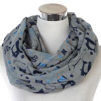 Women Scarf Fashion Grey Sewing Print Ring Snood Wrap For Foulard Ladies Shawls