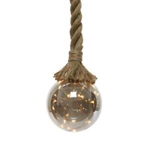 LEDTimer Licht-Kugel Glas Hanf-Tau Seil Lichter Hängelampe Warmweiß Deko XL
