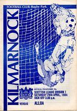 More details for 83/84 kilmarnock v alloa athletic (record lowest attendance)