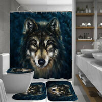4Pcs Wolf Bathroom Shower Curtain  Carpet Rug + Toilet Seat Lid Cover + Bath Mat