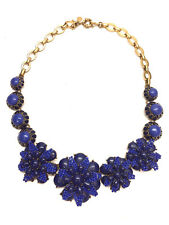 J. CREW Gold-Tone Lapis Blue Beaded Flowers & Enameled Links Statement Necklace