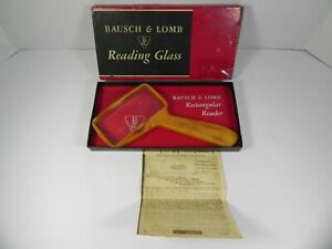 "Vtg BAUSCH & LOMB Magnifying Reading Glass 4"" x 2""  Rectangular Bakelite w/ Box"