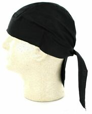 Solid Black Durag Doo Rag Skull Cap Headwrap Bikers Paintball Sports Bandanna