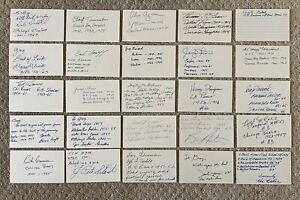 Lot of 100 Signed Football Legends Index Cards