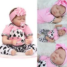 "22"" Handmade Reborn Cute Baby Newborn Lifelike Silicone Vinyl Sleeping Girl Gift"