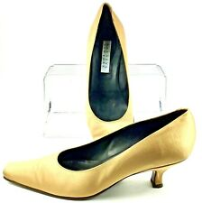Barneys New York Pump Womens EUR Sz 39 US 8 Gold Fabric Slip On Heel Shoes Italy