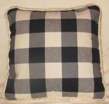 Farm or French Country Cottage Pillow Cushion Plaid Check Blue White Buffalo