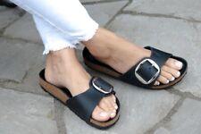 Birkenstock Sandals MADRID BIG BUCKLE black waxy leather narrow fit NEW