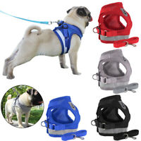 USA Reflective Dog Harness Leash Nylon Pet Cat Soft Mesh Vest Small Medium Puppy