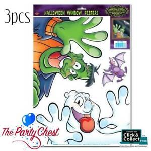 3PCS FUN HALLOWEEN WINDOW PEEPER CLINGS Friendly Spooky Sticker Decoration 1033