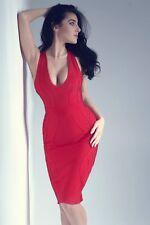 Vestido Ceñido rojo resplandor 1 Claudia. contorno Bodycon Midi Estilo. Push Up. UK 6 XS