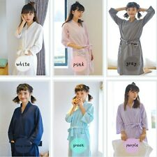 Women Bathrobe Waffle Nightwear Dressing Gown Wrap Housecoat Towelling Homewear