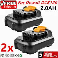 2 x 2000mAh 12V MAX Li-ion Battery For Dewalt DCB100 DCB120 DCB127 DCB121 12V UB
