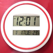 Large Digital Wall Clock White Red Round Alarm Temp MultiFunction LCD DS-3883 UK