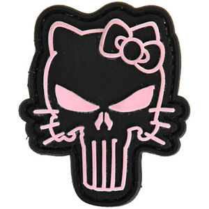 Lancer Tactical Hello Kitty Punisher PVC Hook & Loop Morale Patch Pink AC-110B