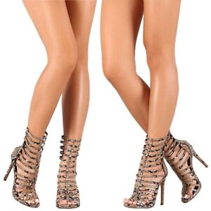 Brown Snake Printed Strappy Caged Open Toe Gladiator Booties Exotic Heels H193