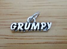 Sterling Silver 7x19mm Snow White says Grumpy Charm