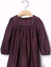 Baby GAP Girls Plum Purple Embroidery Long Sleeve Dress Size 0-3 Months