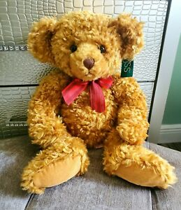 """Vintage Russ Berrie teddy Bear Plush Goldy LARGE 20"""" curly suede paws jointed"""