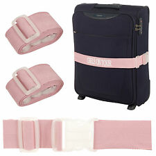 4 x Pink Girls On Tour Adjustable Luggage Suitcase Baggage Belt Tie Down Straps