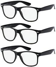 3 Pairs Sping Hinge NERD Smart Black WAYFARER FAKE Glasses Clear costume clark
