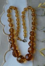 Beautiful Vintage Faceted Amber Crystal Bead Graduated Necklace