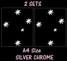 A4 Set of 2 Silver Chrome Southern Cross Stickers AUSSIE CAR DECALS 26cm